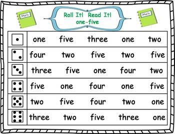 Roll it! Read It! Number Words 1-10 Fluency Practice