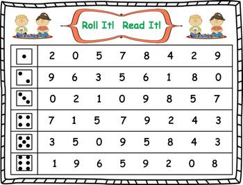 Roll it! Read It! Numbers 1-10 Fluency Practice