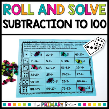 Roll and Solve Subtraction Equations Within 100