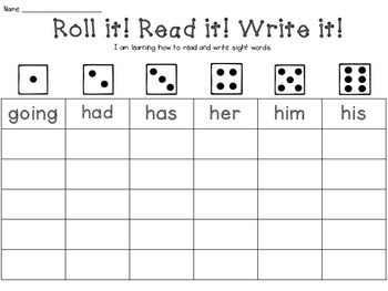 Roll it! Read it! Write it! - 1st Grade Dolch Sight Word Edition