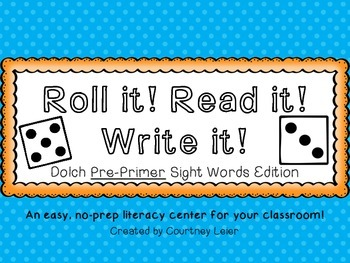Roll it! Read it! Write it! - Dolch Pre-Primer Sight Words Edition