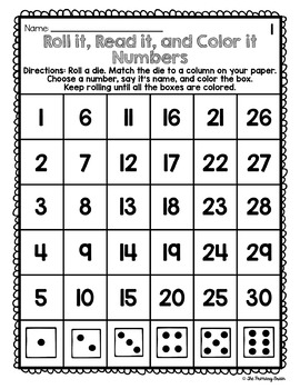 Roll it, Read it, and Color it - Numbers from 1-30