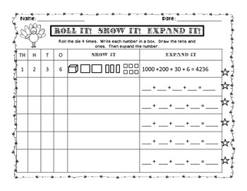 Roll it! Show it! Expand it!  November Math Place Value Game {Sweet Line Design}