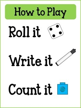 Roll it, Write, Count it  - Math Tubs/Centers Games Numbers 1-10