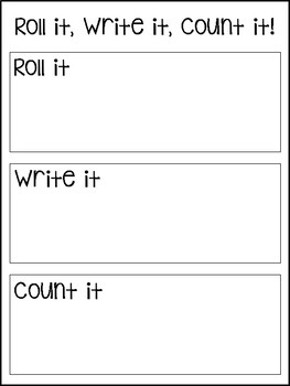 Roll it, Write it, Count it - Math Center