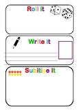 Roll it, Write it, Subitise it Mat - PDF Template