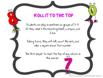 Roll it to the Top FREE math game for understanding addition