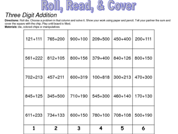 Roll 'n' Cover - Second Grade Math Games
