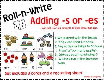 Roll-n-Write  Adding -s or -es