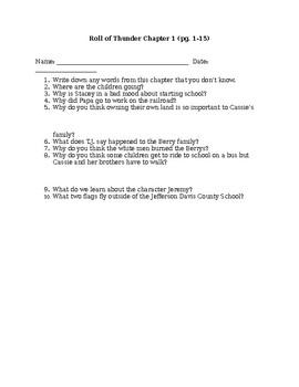 Roll of Thunder Chapter 1 homework