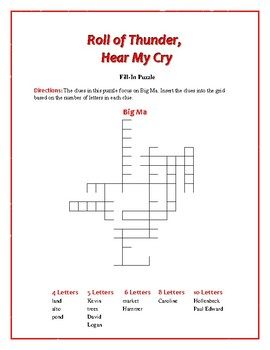 Roll of Thunder, Hear My Cry: 5 Fill-In Word Puzzles—Fun Downtime Activity!