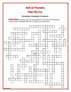 Roll of Thunder, Hear My Cry: 50-word Prereading Crossword—Fun!