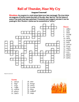 Roll of Thunder, Hear My Cry: Anagram Crossword—Unique Spelling Workout!