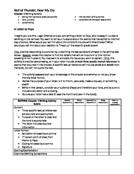Roll of Thunder, Hear My Cry: Ch. 1, 3, & 5 Writing Activities