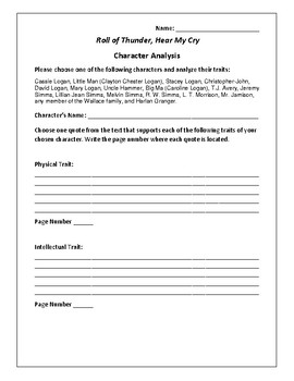 roll of thunder hear my cry character analysis activity  roll of thunder hear my cry character analysis activity mildred d taylor