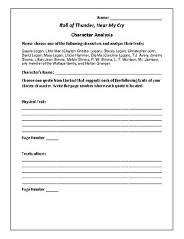 Roll of Thunder, Hear My Cry - Character Analysis Activity - Mildred D. Taylor