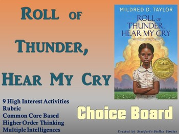Roll of Thunder, Hear My Cry Choice Board Novel Study Activities Menu Project