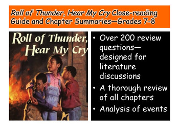 Roll of Thunder, Hear My Cry Close-reading Guide and Summaries—Grades 7-8