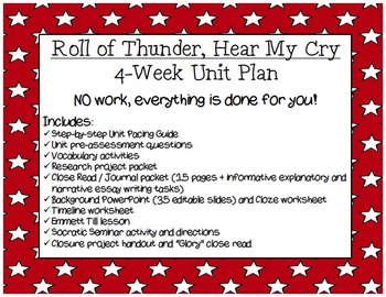 Roll of Thunder, Hear My Cry: 4-week Common Core Unit