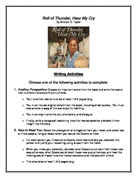 Roll of Thunder, Hear My Cry End-of-Book Writing Activities (Includes Rubric!)