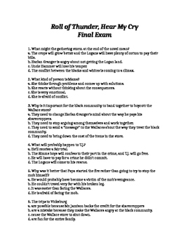 Roll of Thunder, Hear My Cry Final Exam with Study Guide