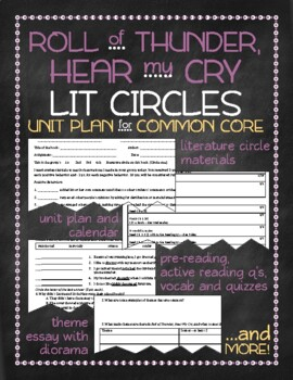 Roll of Thunder, Hear my Cry Lit Circles Unit Plan for Common Core