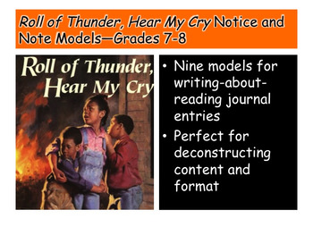 Roll of Thunder, Hear My Cry Notice and Note Models—Grades 7-8
