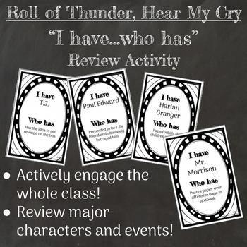 "Roll of Thunder, Hear My Cry Novel Review Activity ""I have, who has"""
