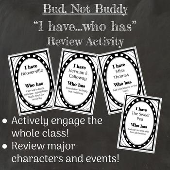 """Bud, Not Buddy Novel Review Activity """"I have, who has"""""""