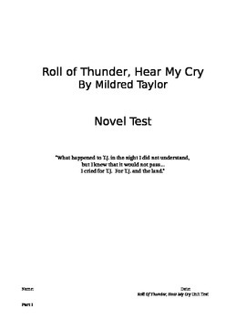 Roll of Thunder, Hear My Cry: Novel test