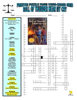 Roll of Thunder Hear My Cry Puzzle Page (Wordsearch and Criss-Cross)