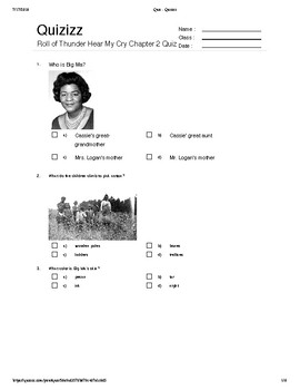Roll of Thunder Hear My Cry Quiz (Chapter 2) (Key Included)