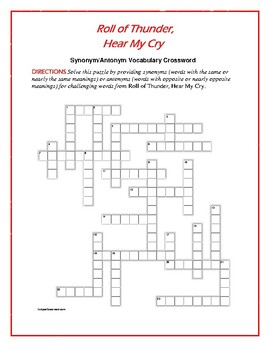 Roll of Thunder, Hear My Cry: Synonym/Antonym Crossword—Fun!