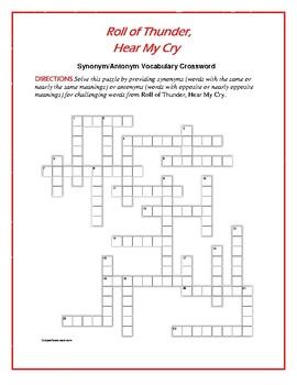 Roll of Thunder, Hear My Cry: Synonym/Antonym Crossword—Fun!