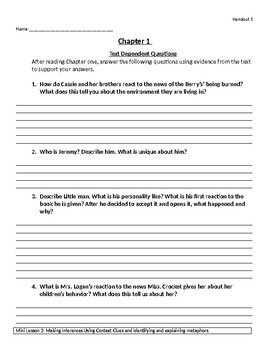 Roll of Thunder Hear My Cry Unit with Worksheets