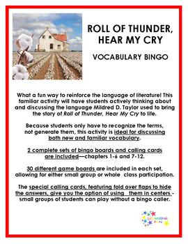 Roll of Thunder, Hear My Cry Vocabulary Bingo