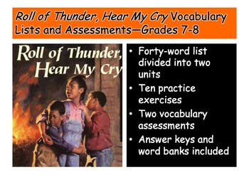 Roll of Thunder, Hear My Cry Vocabulary List and Assessments—Grades 7-8