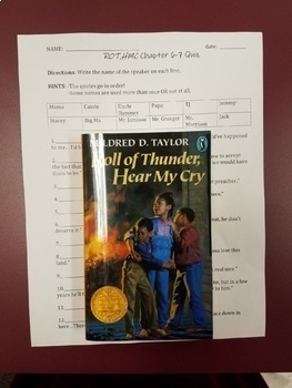 Roll of Thunder, Hear My Cry chapters 6-7 quotes quiz and answers Mildred Taylor