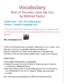 Roll of Thunder, Hear My Cry vocabulary