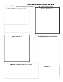 Roll of Thunder, Hear my Cry: Characterization Graphic Organizer