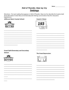 Roll of Thunder, Hear my Cry Setting and Conflict graphic organizers