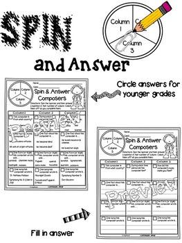 Roll or Spin Composer Worksheets (Set 1)