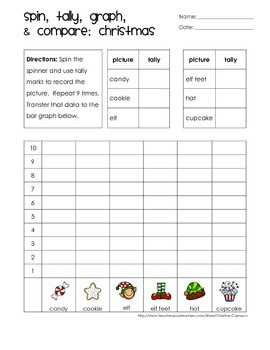 Roll or Spin, Tally, Graph, and Compare: Winter Theme