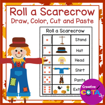 Fall Scarecrow Activities Roll and Draw, Color, Cut and Paste