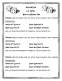 Roll the Dice Box and Whisker Plot Activity