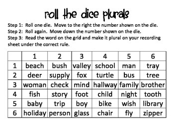 Roll the Dice Plural Game