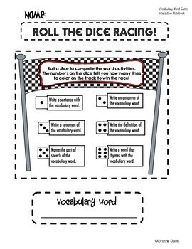 Roll the Dice Racing {FREE for Vocabulary Notebooks}