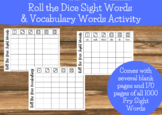 Roll the Dice Sight Words and Vocabulary Words Activity/Game - Fry Sight Words