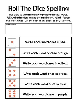 Roll the Dice Spelling Homework
