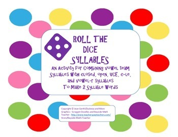 Roll the Dice Syllables - Vowel Teams